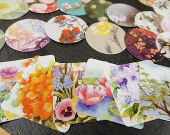 Floral Stickers, Countryside Flowers, Nature Stickers, Scrapbooking Flowers, Crafting Supplies, Pastel Flowers, Stickers for Cardmaking