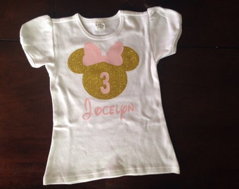 Pink and gold minnie mouse third birthday shirt, pink and gold minnie third birthday, minnie mouse third birthday outfit, personalized