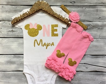 Pink and gold minnie mouse first birthday bodysuit, pink gold minnie 1st birthday onesie, 1st birthday minnie mouse shirt
