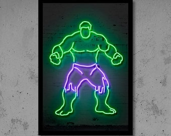 Neon Wall Art thor wall art thor nursery thor neon superhero wall décor kids