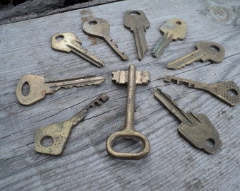 Old vintage keys, old brass keys, 10 keys, altered art of the Soviet Union in 1970, an element of decor, art, collections