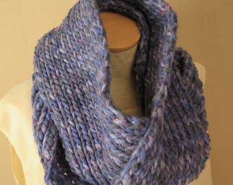 Knit Cowl Hand Knit Cowl Blue Wool Acrylic