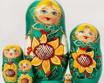 FLASH SALE 3 days 40% off Nesting Doll Russian Matryoshka (5 pc) 4'' Sunflower