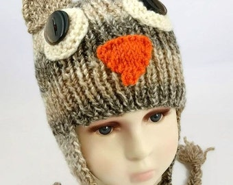 Owl Hat with Braids  - Owl Baby Hat - Baby Owl Hat - Kids Owl Hat - Halloween Costume - Braided Owl Hat - Halloween Hat - Animal Hat - Prop