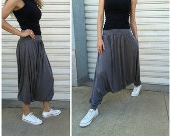 Loose Grey Harem Pants / Extravagant Drop Crotch  Pants / Yoga Pants / Wide leg Pants /Loose maxi pants