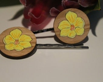 Orchid Flower Bobby Pins-Flower Hair Pins-Flower Bobby Pins-Handpainted-Wildflower Hair Pin-Australian Wildflower