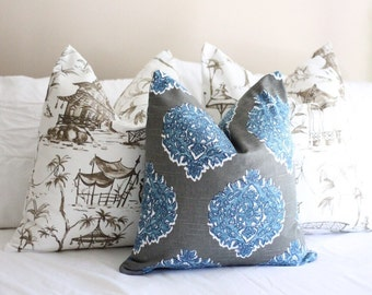 lacefield madras gray & cobalt pillow cover // seaside pillow cover // paisley pillow cover // gray pillow cover // grey and blue