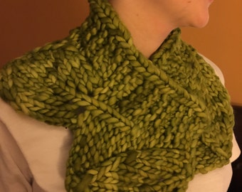 Lattice and Leaf Knit Cowl