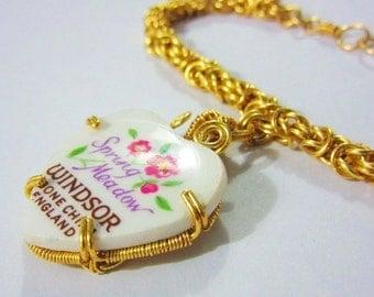 Broken China Heart Charm Byzantine Bracelet