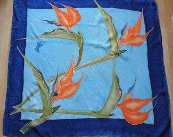 Handpainted Vintage Scarf, Floral Scarf, Vintage Handpainted Scarf, Floral Square, Blue Scarf