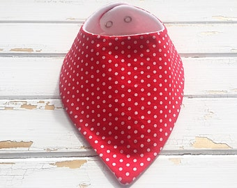 Bandana Dribble bib, Dribble bib, Red and white polka dot dribble bib, Baby bibs, Bib, Red and white, Polka dots