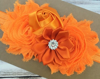 Orange flower headband - baby headband - girls headband - shabby chic headband - girls hair band - orange baby headband