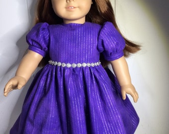 Dress to fit American Girl Doll or 18 inch doll, purple, bling, glitter