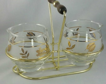 Vintage Libbey Condiment Set In Carry Caddy, Retro Kitchenware, Glass Jam  Or Syrup Jar