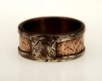 "Mens Wedding Band. Rustic Copper Mens Ring. 10m""m Silver Copper Ring. Mens wedding Ring. Man's Engagement ring. Mixed metal. RS-1128"