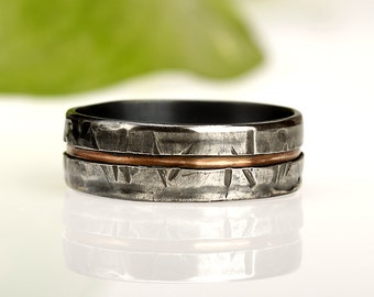 """Mens Wedding Band, Rustic Ring, Silver, Sterling, Copper Ring, 6m""""m Sterling Silver and Copper, Mixed Metal Ring, Organic Style, RS-1081"""