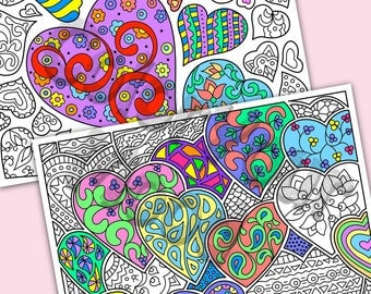 Printable: Valentine's hearts coloring pages, vector PDF
