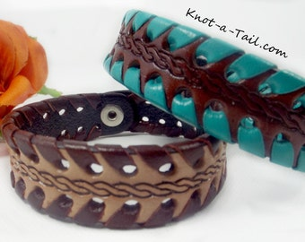 Leather bracelet, Cowgirl bracelet, western leather bracelet, Hand-laced leather bracelet, Hand-carved leather bracelet, Teal or brown