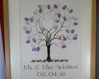 Custom Wedding Fingerprint Tree Guest book Package design  (includes frame, tree, ink, instructions and stand)