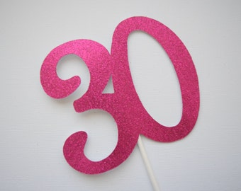 30th Birthday Cake Topper, 40th Birthday Decor, 50th Birthday Cake Topper, Glitter Birthday Cake Topper, Personalized Age Cake Topper