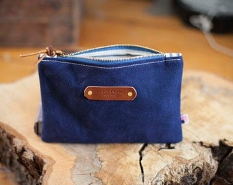 Navy Blue Waxed Canvas Zippered Pouch