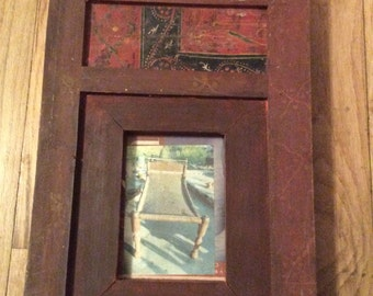 "Antique wood hand painted Himalayan frame  Size 10 1/4"" x 14"" x 1 1/4"""