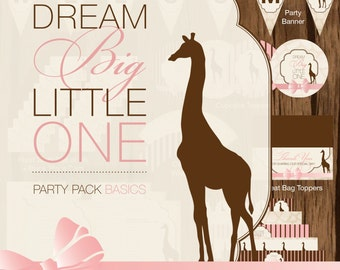 Giraffe Printable Baby Shower, Safari Baby Shower Printables, Giraffe Baby Shower Decor, Dream Big Little One Baby Shower Decor