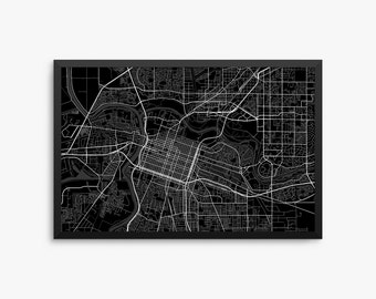 Sacramento City Street Map, Sacramento California USA, Modern Art Print, Office Decor, Home Decor, Sacramento Decor, Sacramento Map, Decor