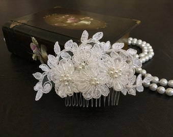 Bridal Hair Accessories, Wedding Head Piece, Ivory Beaded Lace, Pearl, Comb