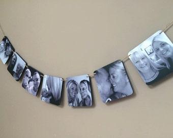 Square Photo Bunting / Photo Bunting / Photo Gift / Wedding Gift / Engagement Gift / Birthday Gift / Christening / Home Decor / Photo Frame