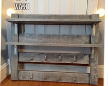 Rustic Coffee Rack - Coffee Mug Storage - Tea Cup Storage - Kitchen & Dining Room Storage - Shelving Unit - Kitchen Decor