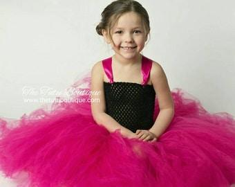Pink and Black Tutu Dress, Flower Girl Tutu Dress, Wedding, Cute Dress up Dress, Gift, Birthday Tutu Dress, Fun Play