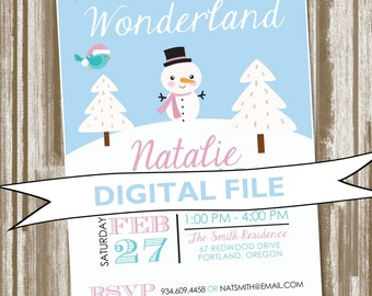 Winter Wonderland Theme Birthday Party Invitation--Choice of Color Scheme--Personalized Digital File