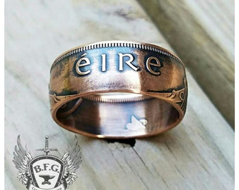 Irish Copper Coin Ring  - 1d Ireland Copper Coin