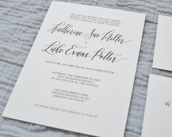Classic Calligraphy Wedding Invitation Suite | **DEPOSIT**
