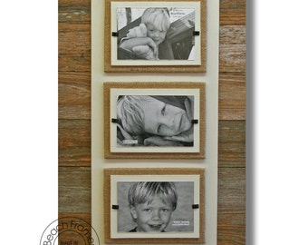 triple 4 x 6 picture frame / Reclaimed Wood Picture Frame / burlap frame / coastal nautical / shabby chic frame / beach frame
