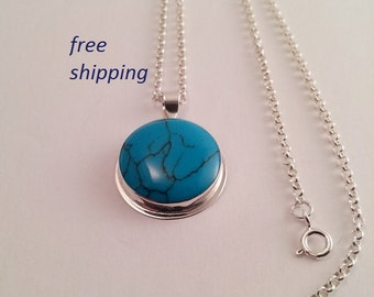 Turquoise  pendant; set in 92.5 sterling silver