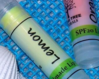 SPF Lip balm - Lemon & Organge Lip Balm - Organic Flavored lip balm - Moisturizing lip balm with Zink oxide