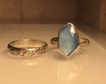 Handmade Gemstone Ring/Handmade Blue Chalcedony Ring/Free Shipping in the US.