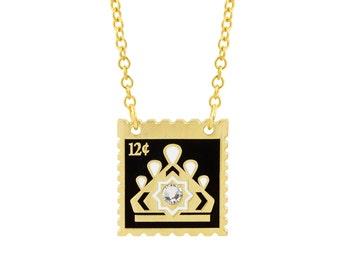 Tiara Stamp Necklace with Black & White Enamel
