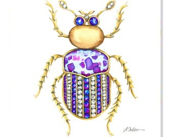 Bug Brooch Watercolor Rendering in Yellow Gold with Diamonds, Tanzanite and Jasper printed on Canvas