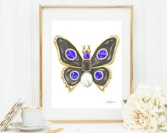 Butterfly Brooch Watercolor Rendering in Yellow Gold with Black Onyx, Tanzanites, Diamonds, and Pearl printed on Paper