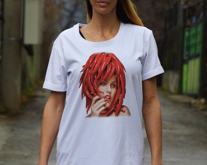 Extravagant Hot Pepper Print T-shirt, White Cotton Maxi Tshirt, Plus Size Clothing, Handmade Oversize Top by SSDfashion