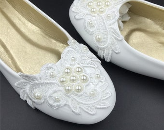 Ivory White Vintage Lace Wedding Shoes,Pearls Bridal Ballet Shoes,Comfortable Bridal flats,USA Size 4 5 6 7 8 9 10 11 12 Size 4~12.5