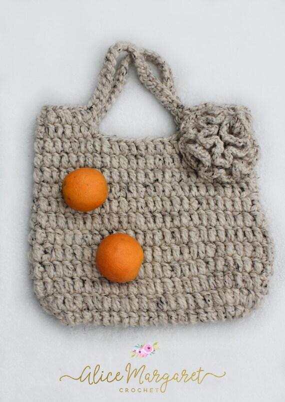 Chunky Crochet Tote Market Bag Boho Chic Oatmeal Purse