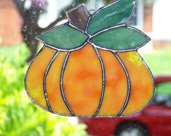 Orange Mottled Pumpkin Stained Glass Suncatcher