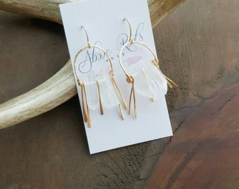 Chandelier Quartz Fringe Earrings, Gold Hoops, Hammered Hoops, Gold Fringe, Boho Earrings, Everyday Earrings, Boho Earrings, Quartz Earrings
