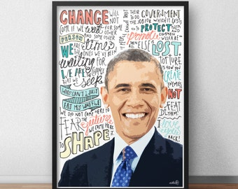Barack Obama print / poster hand drawn typography quotes political print / poster