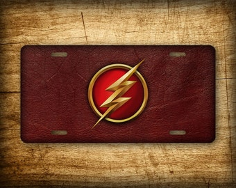 The Flash License Plate Superhero ~PERFECT GIFT~ Aluminum Auto Tag Red Leather 6x12 Barry Allen DC Comics Scarlet Speedster