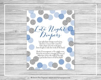 Blue and Silver Baby Shower Late Night Diapers Sign - Printable Baby Shower Late Night Diapers - Blue and Silver Baby Shower - SP124